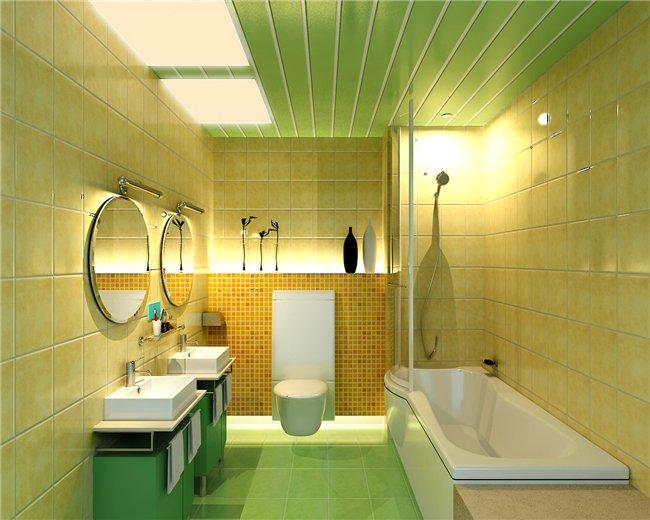Пластиковые панели на потолке в ванной