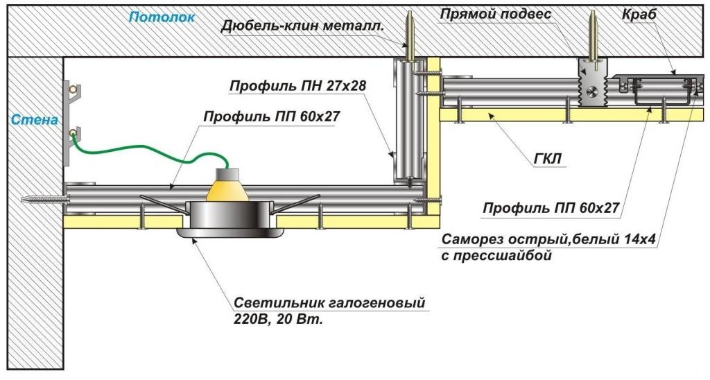 Схема установки двухуровнего