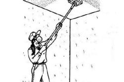 Выравнивание поверхности потолка с помощью шарнирной терки