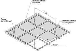Схема монтажа кассетного потолка.