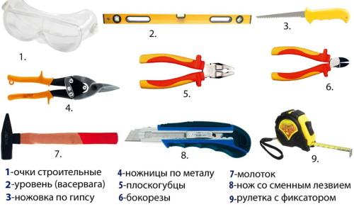 Инструмент для монтажа гипсокартона