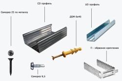 Для монтажа каркаса понадобится: профиль UD и CD, П-образное крепление, ДБМ (Дюбель быстрого монтажа), саморез 25 по металлу и саморез 9,5 для профиля.
