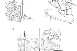 Монтаж перегородки из стеклоблоков с помощью распорных крестиков: а – установка крестиков и армирующих прутьев; б – нанесение раствора; в – установка стеклоблока на место