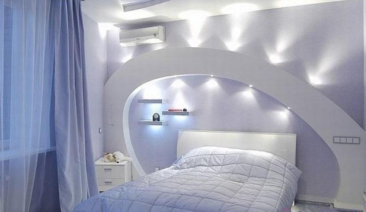 Стены из гипсокартона в спальне - фото