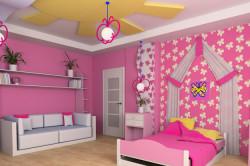Дизайн детской с многоуровневым потолком
