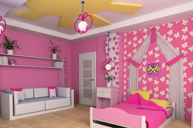 Дизайн потолка из гипсокартона в детской комнате фото